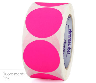"2"" Neon Pink Inventory Dot Labels"
