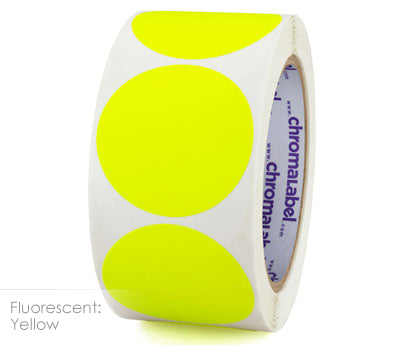 "2"" Neon Yellow Inventory Dot Labels"