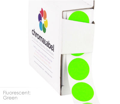 Fluorescent Green Permanent Adhesive Round Labels