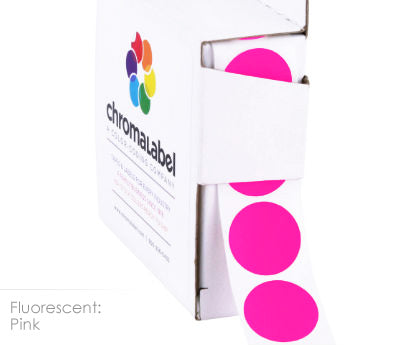Fluorescent Pink Permanent Adhesive Round Labels