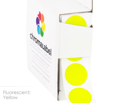 "0.75"" Neon Yellow Round Labels"