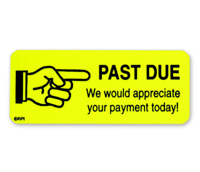Past Due Payment Collection Labels - 1 x 2-1/4 - 250/Box