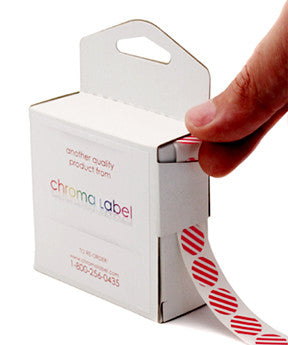 Red Striped Labels Dispensing