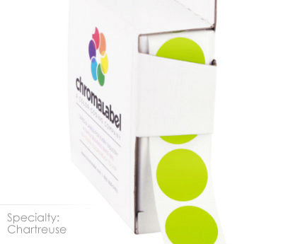 Chartreuse Permanent Adhesive Round Labels