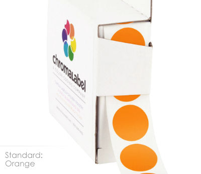 Orange Permanent Adhesive Round Labels