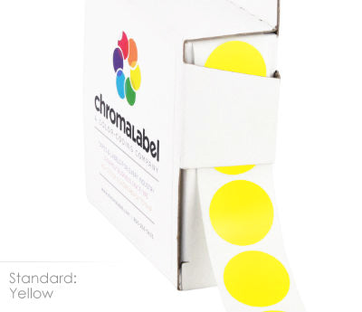 Yellow Permanent Adhesive Round Labels