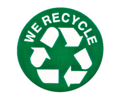 Round Green Labels That Say We Recycle W Arrows Symbol