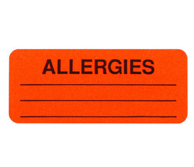 "1"" x 2.25"" Neon Red Allergies Labels"
