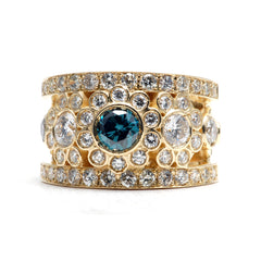 blue diamond, yellow gold