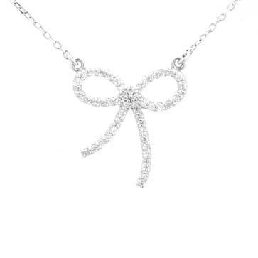 Ladies Diamond Bow Pendant