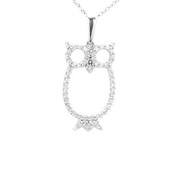 Ladies Diamond Owl Pendant