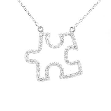 Ladies Diamond Puzzle Piece Pendant