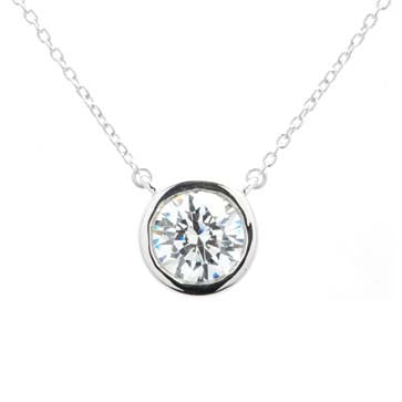 Ladies Bezel-Set CZ Pendant