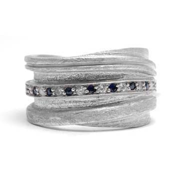 Ladies Twisted Diamond and Sapphire Ring