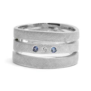 Ladies Three-Band Sapphire Ring