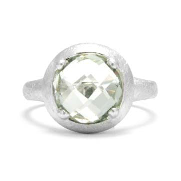 Ladies Green Quartz Solitaire Ring