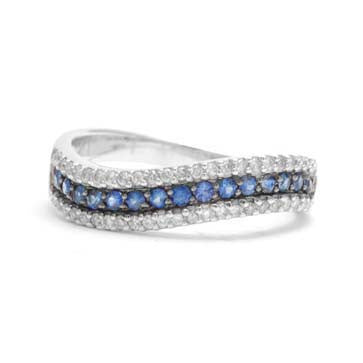 Ladies Blue Sapphire and Diamond Ring