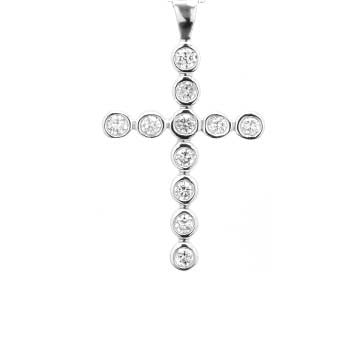 Ladies Bezel-Set Diamond Cross