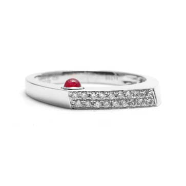 Ladies Diamond and Ruby Bar Ring
