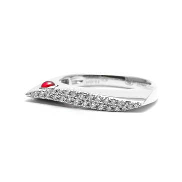 Ladies Diamond and Ruby Wave Ring