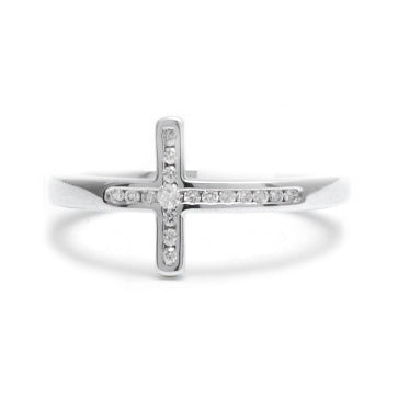 Sterling Silver Diamond Cross Ring