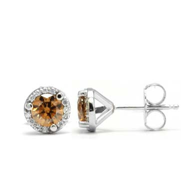 Ladies Brown Diamond Earrings