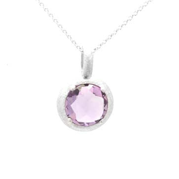 Ladies Amethyst Solitaire Pendant