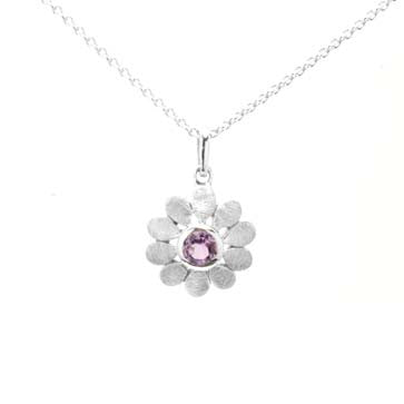 Ladies Amethyst Flower Pendant