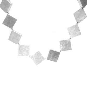 Ladies Silver Square Necklace