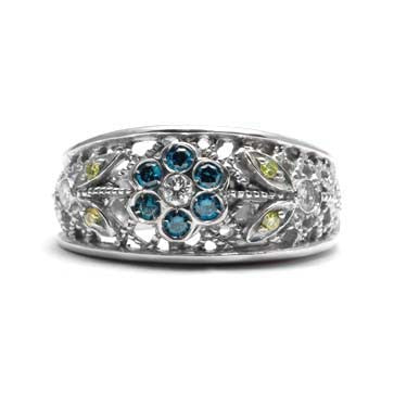 Ladies Blue and White Diamond Flower Ring