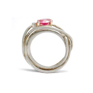 Ladies Ruby Wire Wrapped Ring