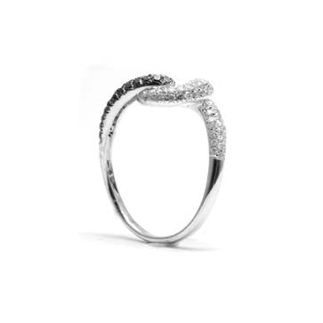 Ladies Swirl Black and White Diamond Ring