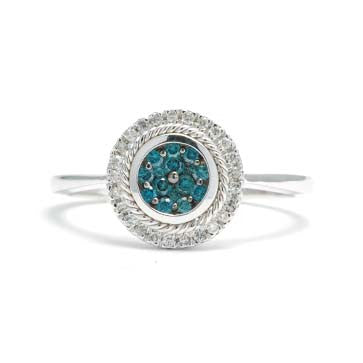 Ladies Blue Diamond Cluster Ring