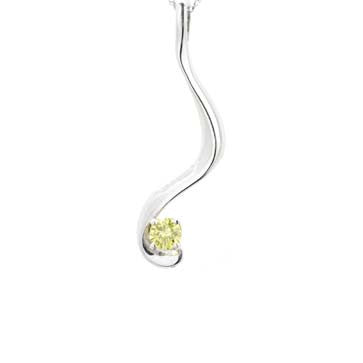 Ladies Yellow Diamond Solitaire Pendant