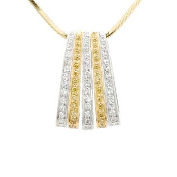 Ladies Yellow and White Diamond Pendant