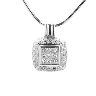 Ladies Princess Cut and Pave Pendant