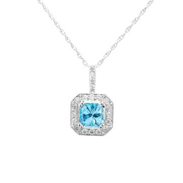 Ladies Blue Diamond Pendant