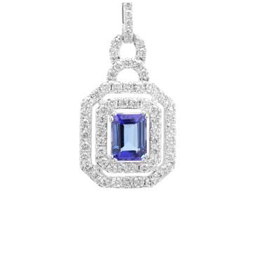 Ladies Emerald Cut Tanzanite and Diamond Pendant