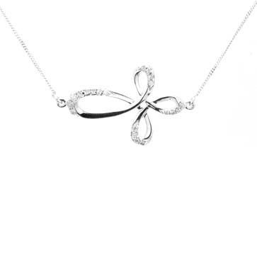 Ladies Sideways Swirl Diamond Cross