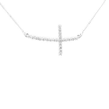 Ladies Sideways Diamond Cross