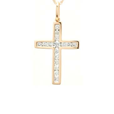 Ladies Rose Gold Diamond Cross