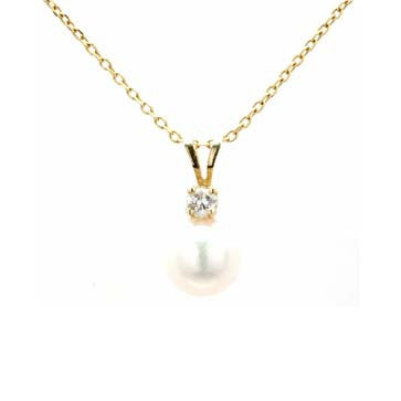 Ladies Pearl and Diamond Accent Pendant