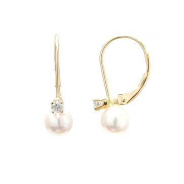 Ladies Pearl and Diamond Earrings