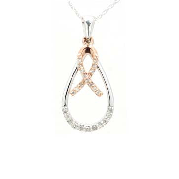 Ladies Diamond Dangle Ribbon Pendant