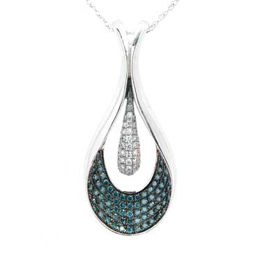 Ladies Blue Diamond Teardrop Pendant