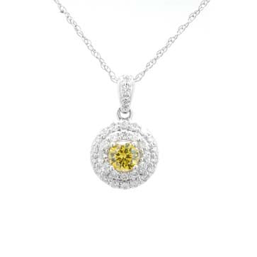 Ladies Double Halo Yellow Diamond Pendant