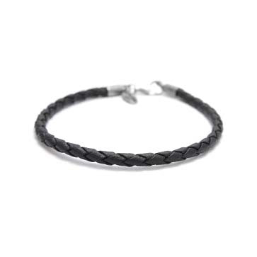 Ladies Black Leather Rope Bracelet