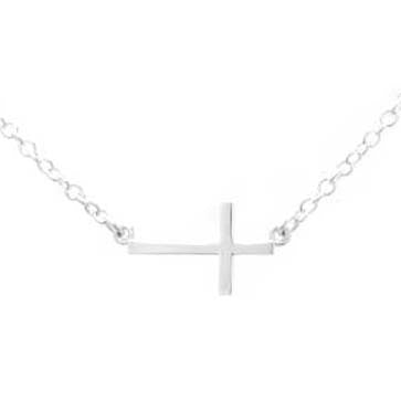 Ladies Silver Sideways Cross