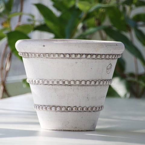 Garden Pot, White Ash Clay Planter, Dotted Rows of Detail