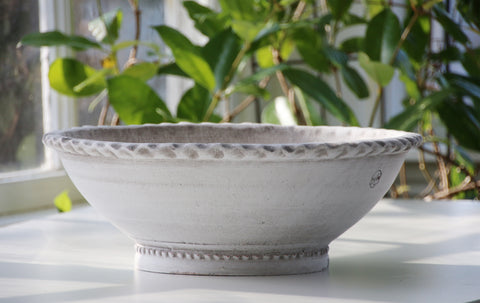 Garden Pot, White Ash Clay Low Bowl Planter
